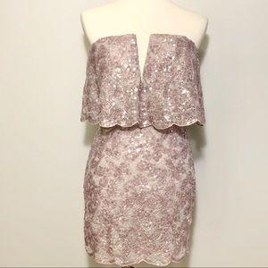 BCBGMaxAzria Kate Sequin Lace Popover Dress Sz 0